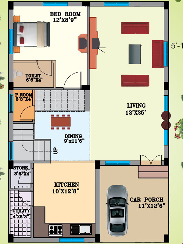 Vijetha projects hyderabad for Ground floor house plan